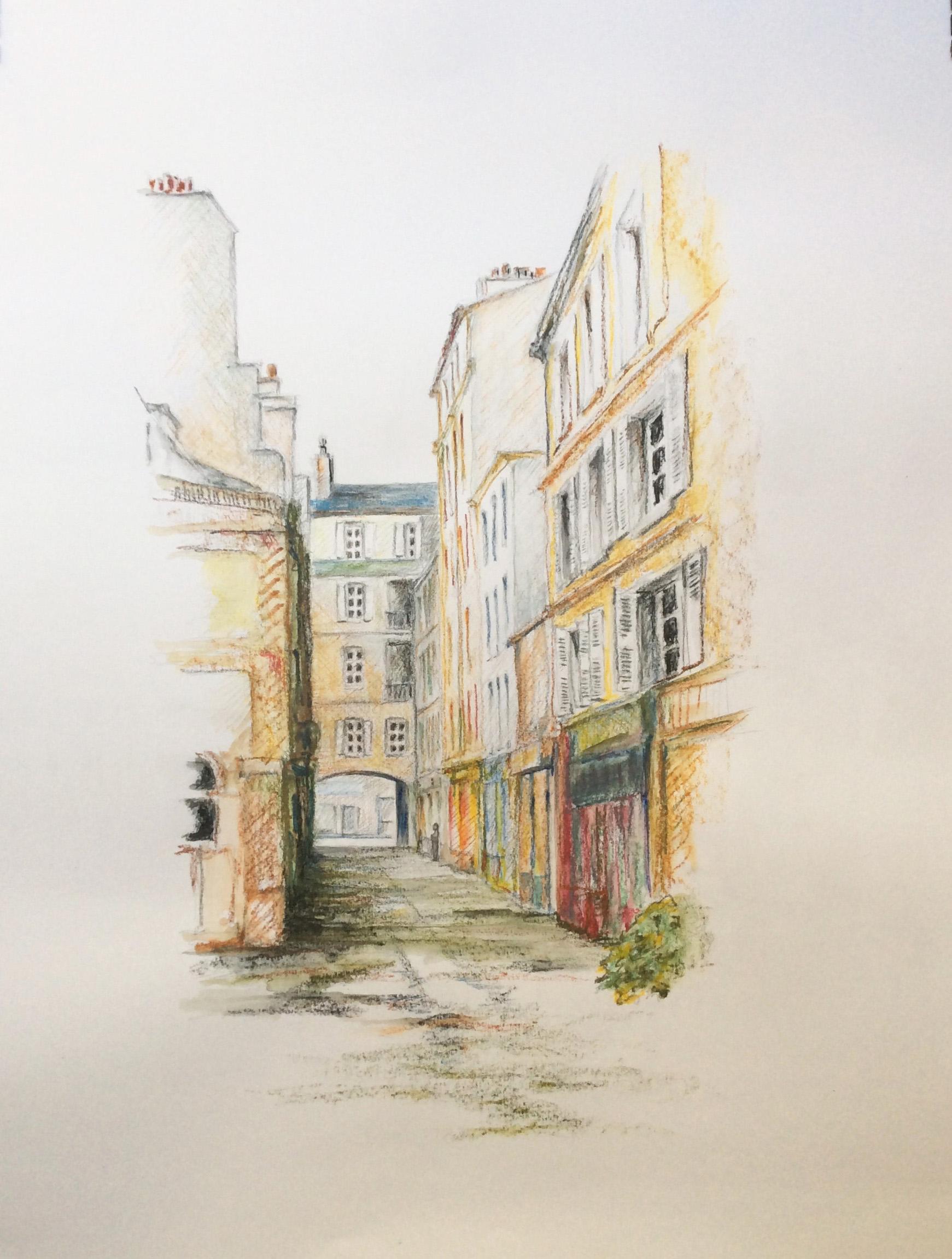 Pass Didelot. Crayon aquarelle lavis