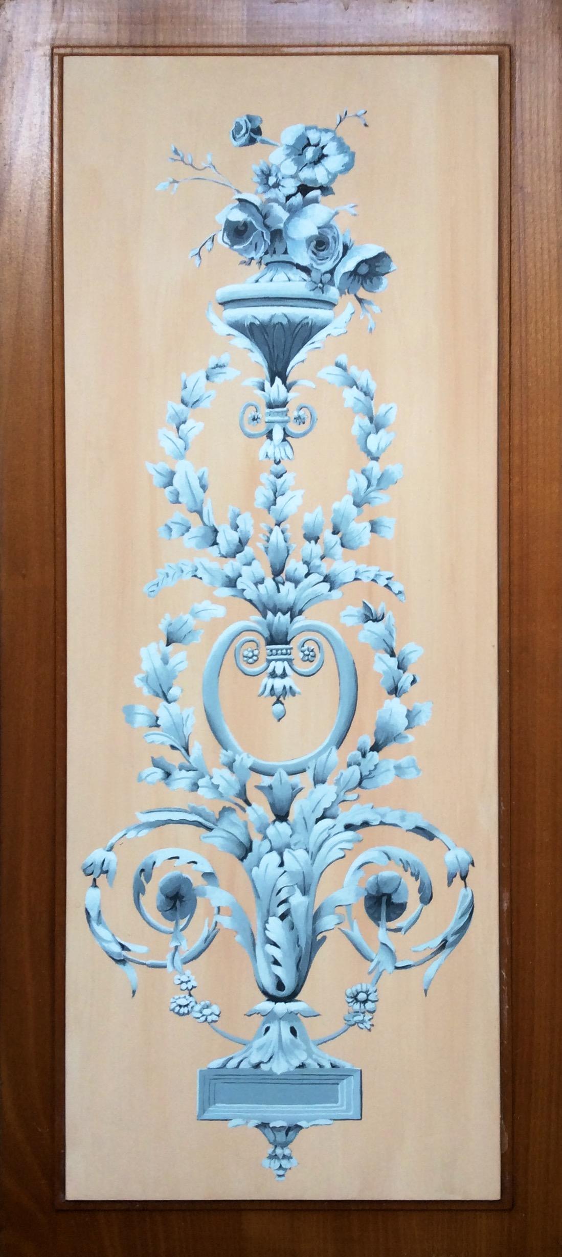 panneau floral caséine