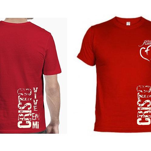 Camiseta Caballero Roja. C015 Dólares. Tallas reducidas