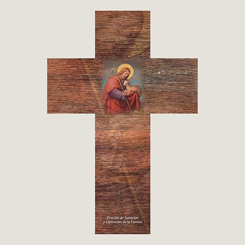 Cruz del buen pastor con ORACIÓN DE LA FAMILIA. V006 Dólares