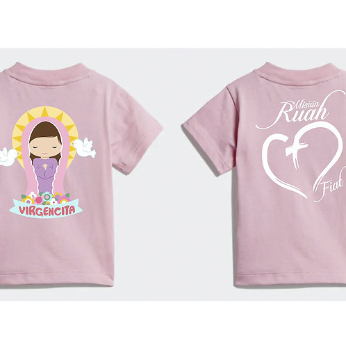 Camiseta niña color rosa claro. C016 Dólares. Tallas reducidas