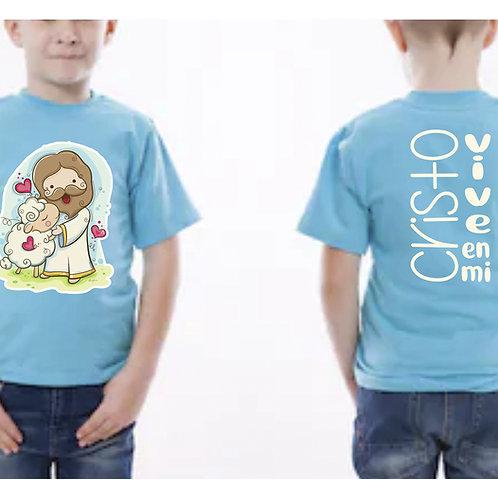 Camiseta Niño Azul Cristo Vive en mi. C002 Dólares. Tallas reducidas