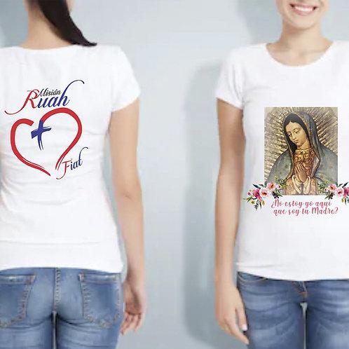 Camiseta Dama de La Virgen de Guadalupe.C005 Dólares. Tallas reducidas
