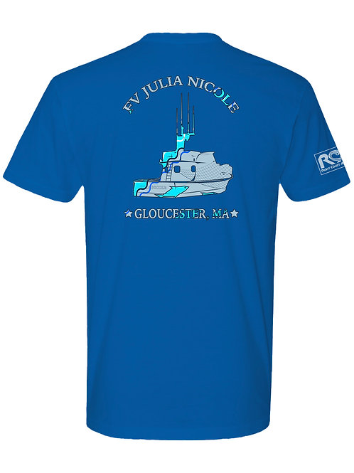"FV Julia Nicole ""All On The Line""  50/50 Short Sleeve Egyptian Blue Fishing Tee"