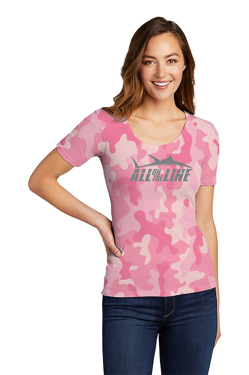 """""""All On The Line"""" Ladies 50/50 Cotton/Poly Pink Camo Swoop Neck Tee"""