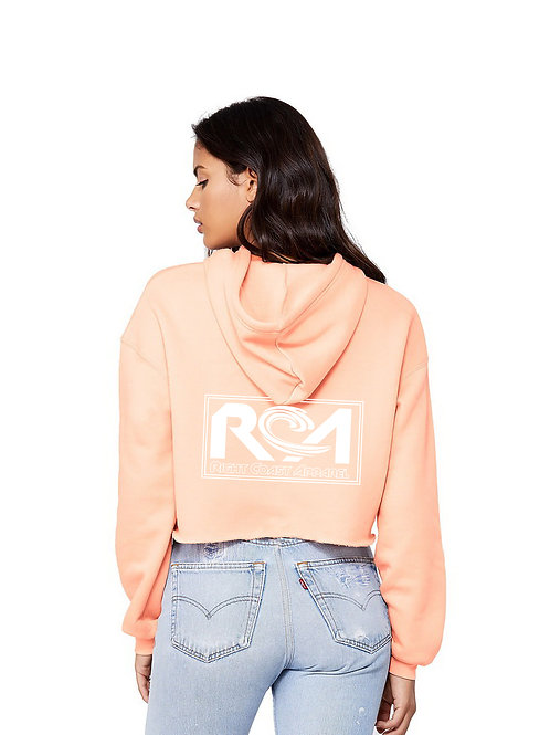 Blast Ladies Cropped Top Hoodie - Peach