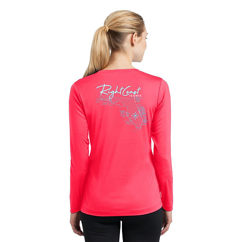 Iconic Breaks Ladies V-neck Dry Fit Hot Coral