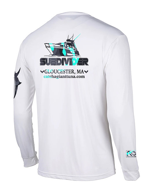FV Subdivider White Long Sleeve UV 50 Quick Dry tee with Seafoam Camo
