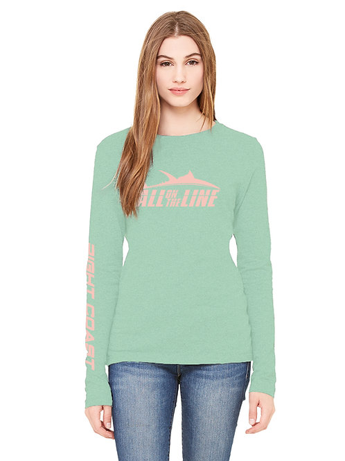 """""""All On The Line"""" Right Coast Mint and Sunset Coral 50/50 Ladies Long Sleeve Swo"""