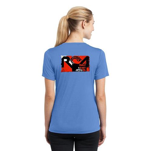 Dive Flag Ladies V Neck Dry Fit Carolina Blue