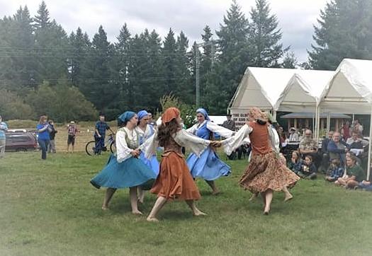 Girls  after costume change: St. George Dancers.