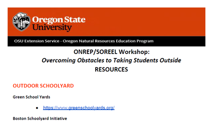 Overcoming Obstacles to Taking Students Outside Resources List