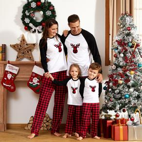 Christmas Plaid Deer Print Family Matching Pajamas Sets