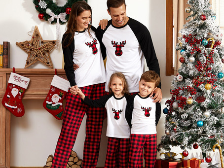 Christmas Plaid Deer Print Family Matching Pajamas Sets