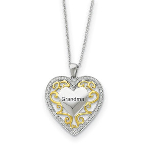 Rhodium & Gold Tone Plated Silver & CZ Grandma Heart Necklace, 18 Inch