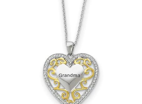 Rhodium & Gold Tone Plated Silver & CZ Grandma Heart Necklace, 18 Inch