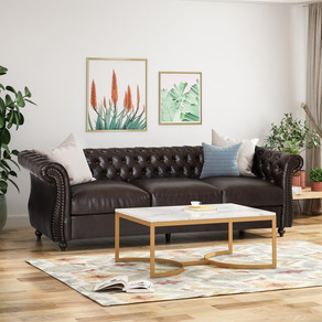 Vita Chesterfield Tufted Leather Sofa with Scroll Arms