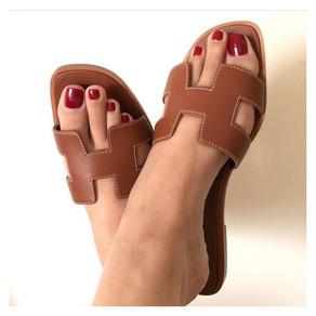 Tan Women's Slide Sandals Open Toe Vintage Summer Flat Slides Shoes