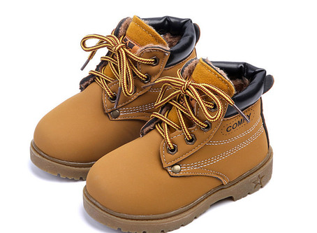 Baby Kids Boy Girl PU Leather Snow Boots Fur Lined Winter Warm Shoes - Yellow 23