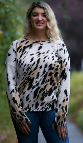 NYLAND Animal Print Distressed Sweater