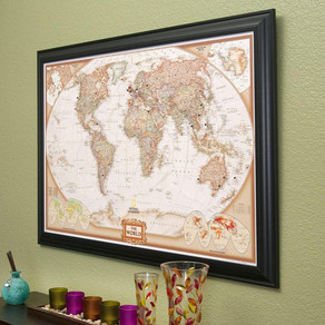 EXECUTIVE WORLD TRAVEL MAP WITH PINS