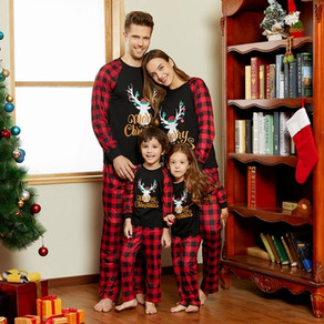 Merry Christmas Letter Antler Print Plaid Splice Matching Pajamas