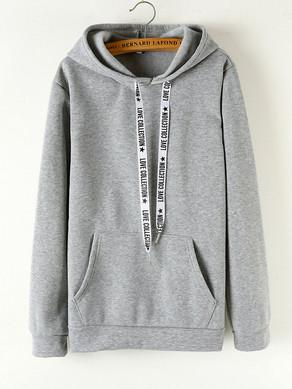 Letters Drawstring Long Sleeve Hooded Sweatshirts