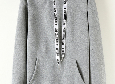 Letters Drawstring Long Sleeve Hooded Sweatshirts