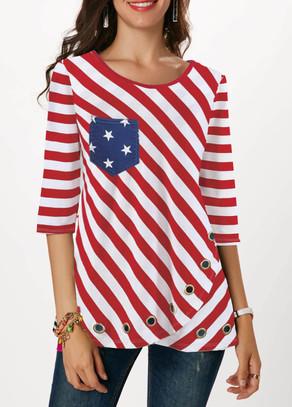 Flag Print Three Quarter Sleeve Red T Shirt