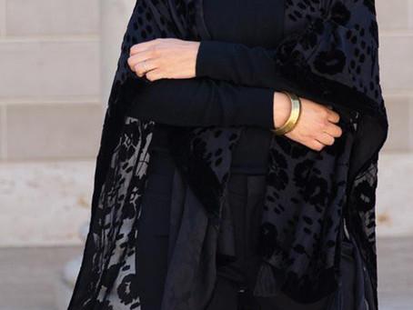 Esme Black Velvet Burnout Kimono Wrap