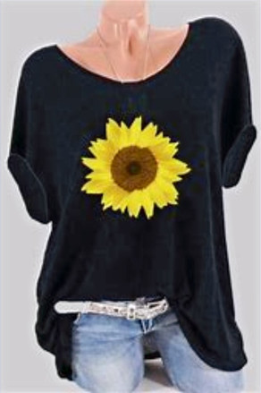 Round Neck Sunflower Print Short Sleeve T-shirt