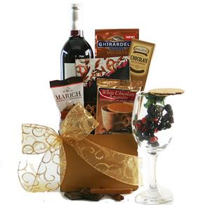 Wine & Chocolate Wishes Wine Gift Basket