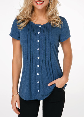 Button Up Crinkle Chest Navy Blue T Shirt