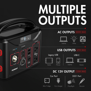 Portable Power Station, 300Wh Backup Lithium Battery