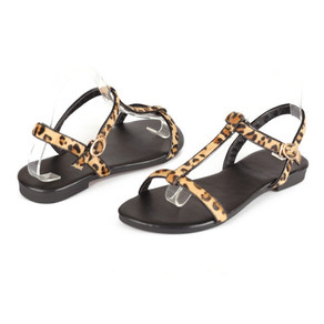 Leopard Print Flats T-strap Sandals for Girls