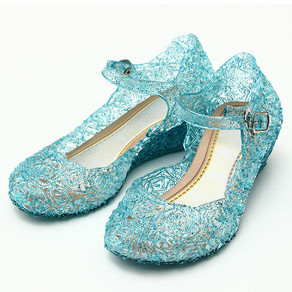Frozenly Elsa Princess Crystal Hole Sandals Girls Cosplay Girl Shoes Blue - 30