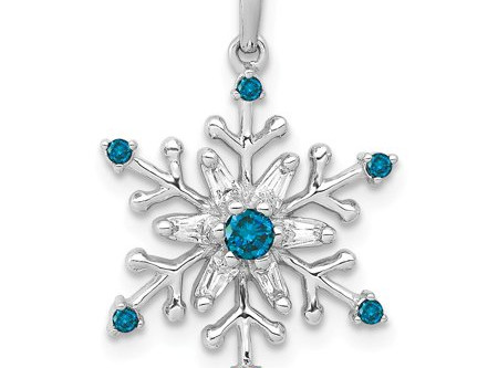 """Blue Diamond """"Snow Flake"""" Pendant with Chain in Sterling Silver (1/10 cttw)"""