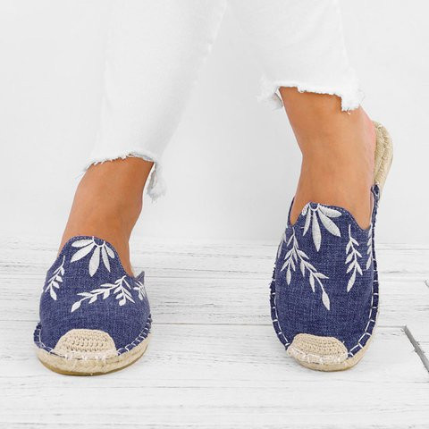 Embroidered Espadrille Flats