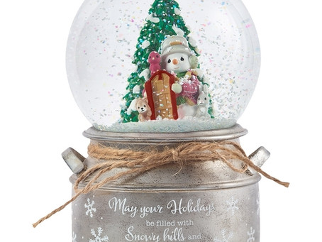 May Your Holidays Be Filled With Winter Thrills, 10th Annual Snowman Series Musical Snow Globe
