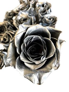 Metallic Silver Roses