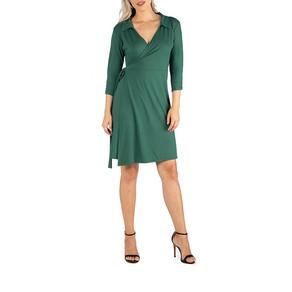 24/7 Comfort Apparel Knee Wrap Dress