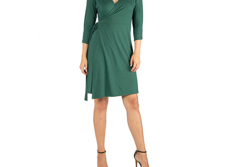24/7 Comfort Apparel Knee Wrap Dress
