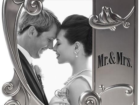 Mr. & Mrs., 4˝ x 6˝ Photo Frame, Zinc Alloy