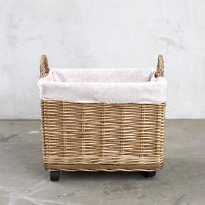 Willow Basket on Wheels