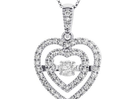 """3/8 Carat Diamond Heart Pendant in 10K White Gold with 18"""" Chain"""