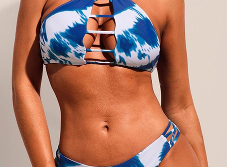 Tie Dye Print Ladder Cut Out Bikini Sets