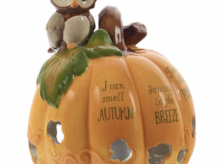 Pumpkin With Owl LED Ceramic Direct Exclusive Figurine