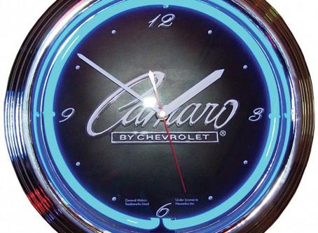 Camaro Clock, Neon Script