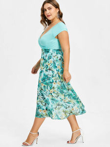 Plus Size Flower Print Hawaiian Dress