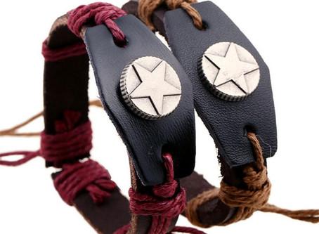 European Hand Woven Rope Leather Adjustable Men Bracelet Unisex Jewelry - Yellow